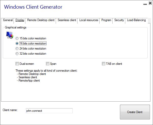 client generator display