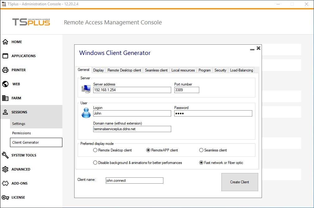 client generator tab