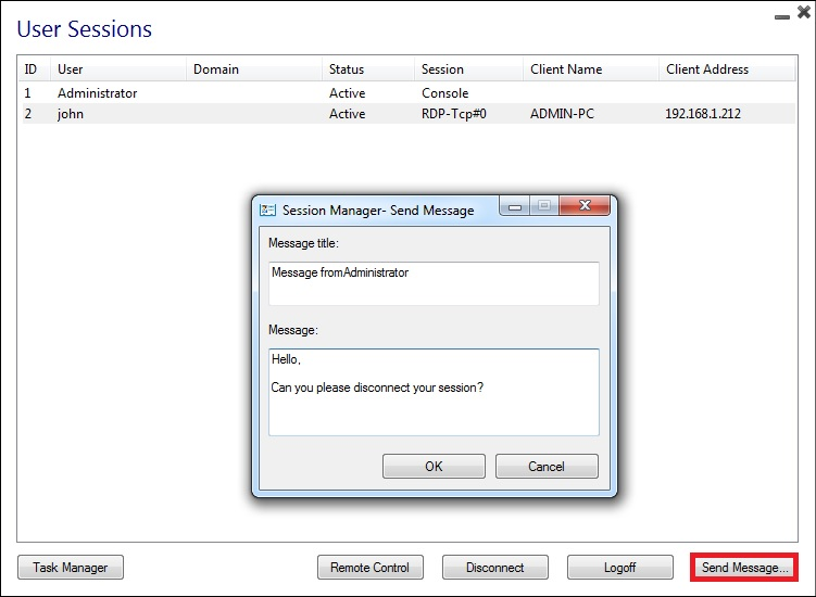 session manager message