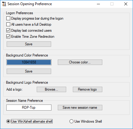 session opening preference