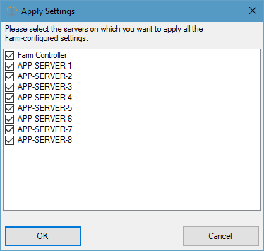 farm manager settings servers picker