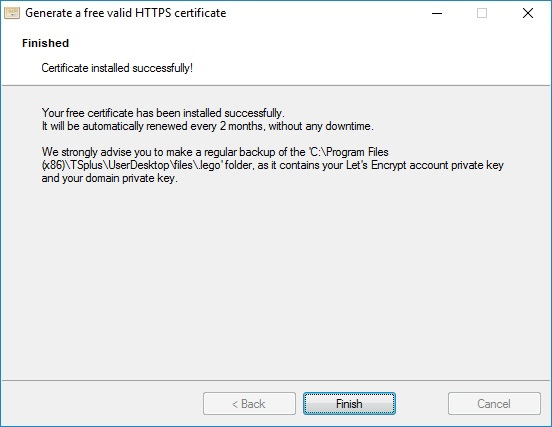 Free and Easy-to-install SSL Certificate | TSplus