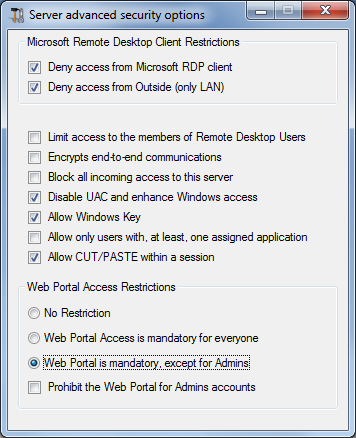 Gateway Server: Prevent RDP access and allow HTTP | TSplus