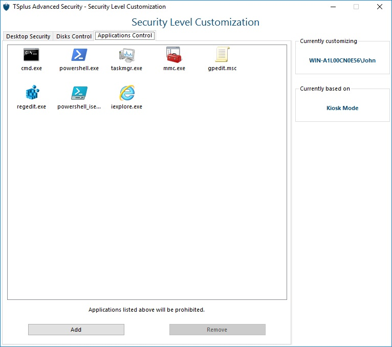 Application control TSplus Advanced Security