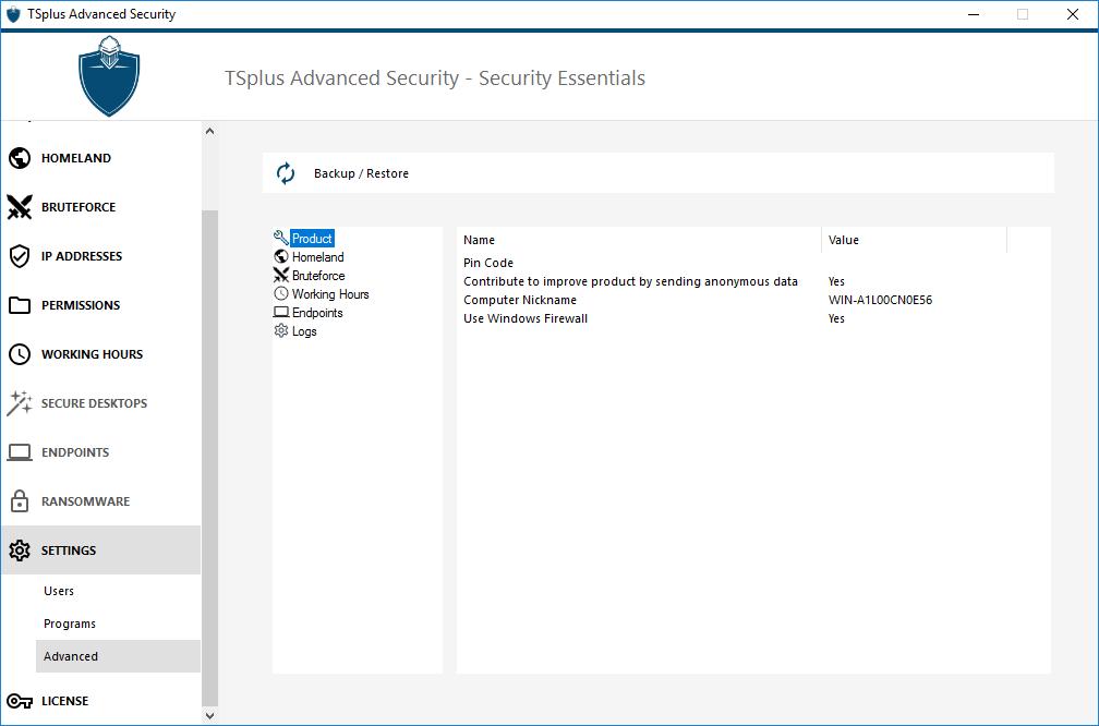 TSplus Advanced Security Setting-Product