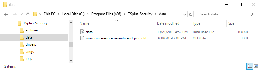TSplus Advanced Security database