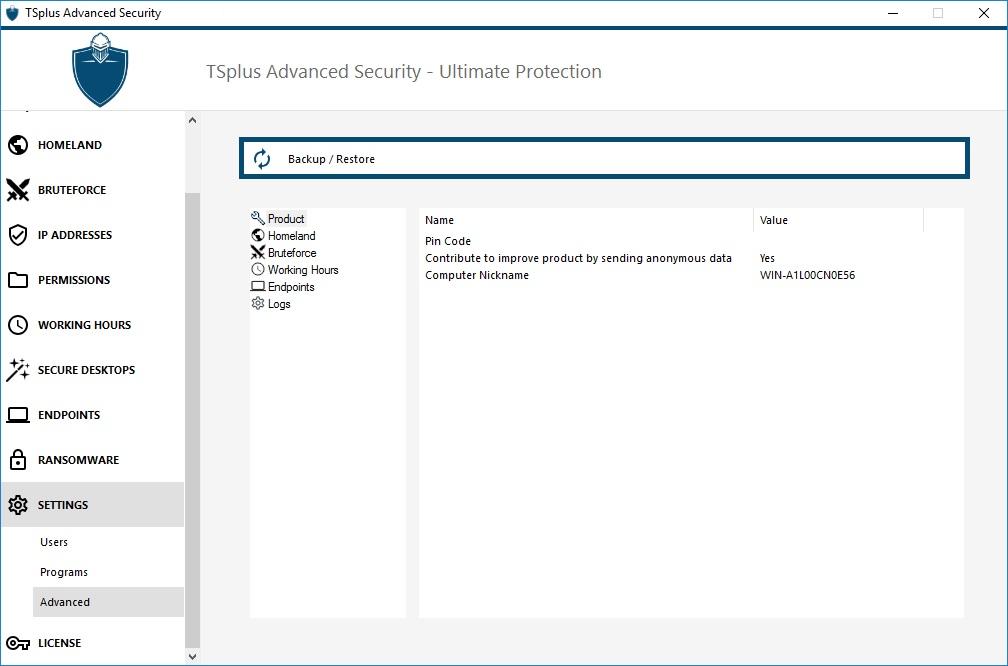 TSplus Advanced Security settings-advanced
