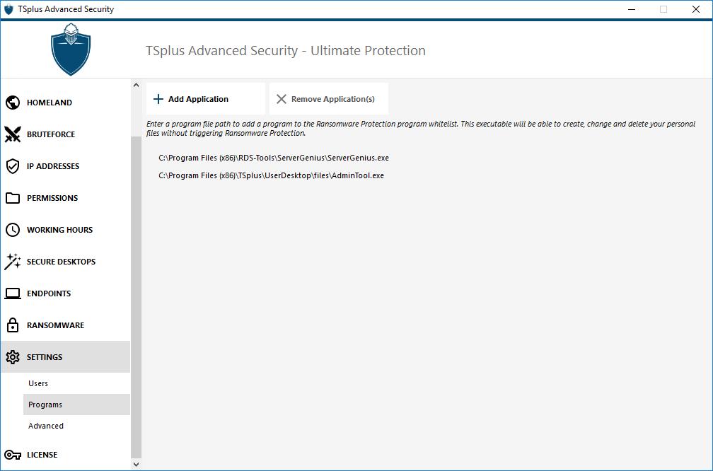 TSplus Advanced Security settings-programs