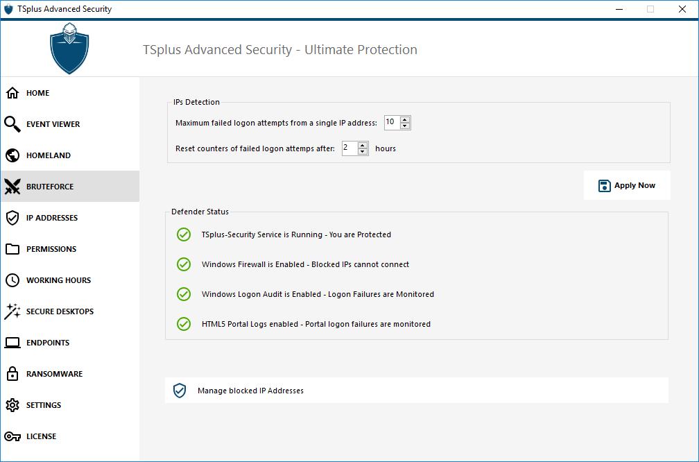 Bruteforce defender TSplus Advanced Security
