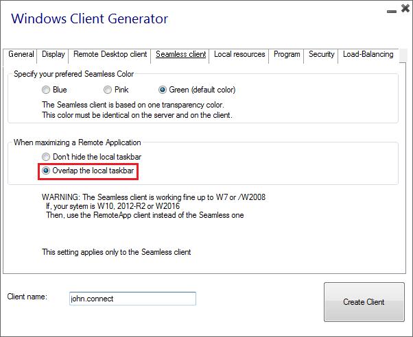 client generator seamless overlap