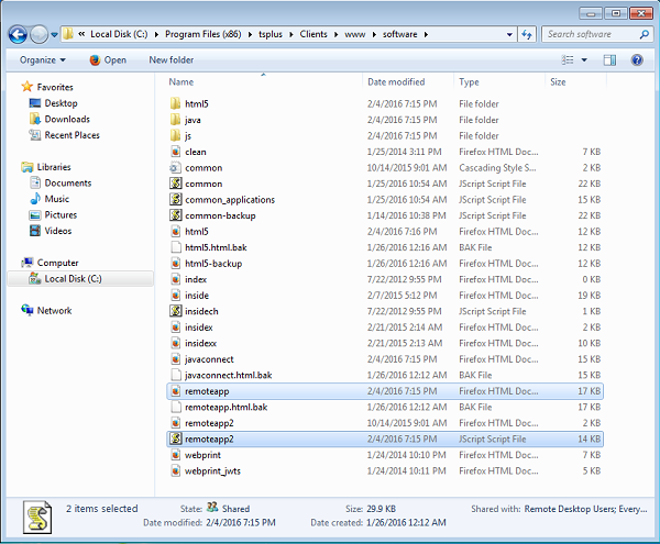remoteapp files