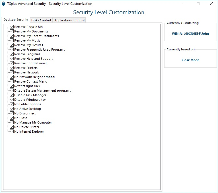 security-customize TSplus Advanced Security