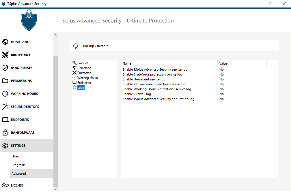 TSplus Advanced Security logs