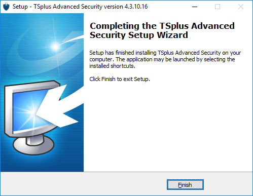 Setup TSplus Advanced Security completing