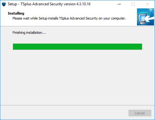 Setup TSplus Advanced Security installing