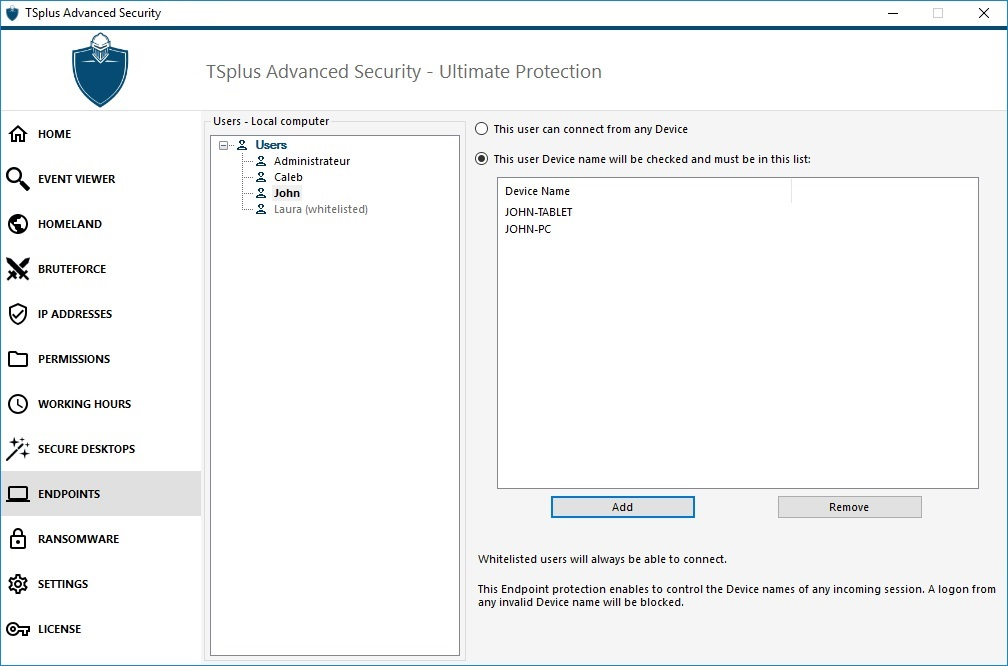 TSplus Advanced Security End Point Protection