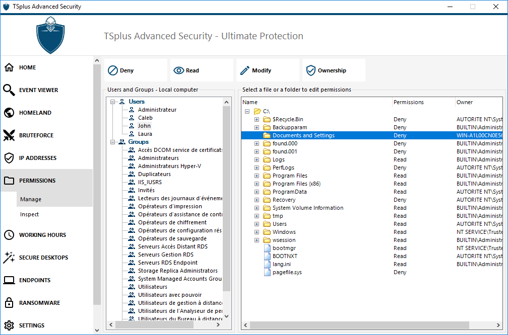 TSplus Advanced Security permissions manage