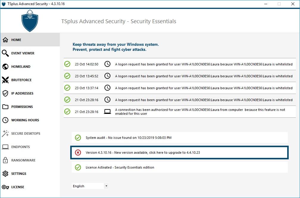Updating TSplus Advanced Security