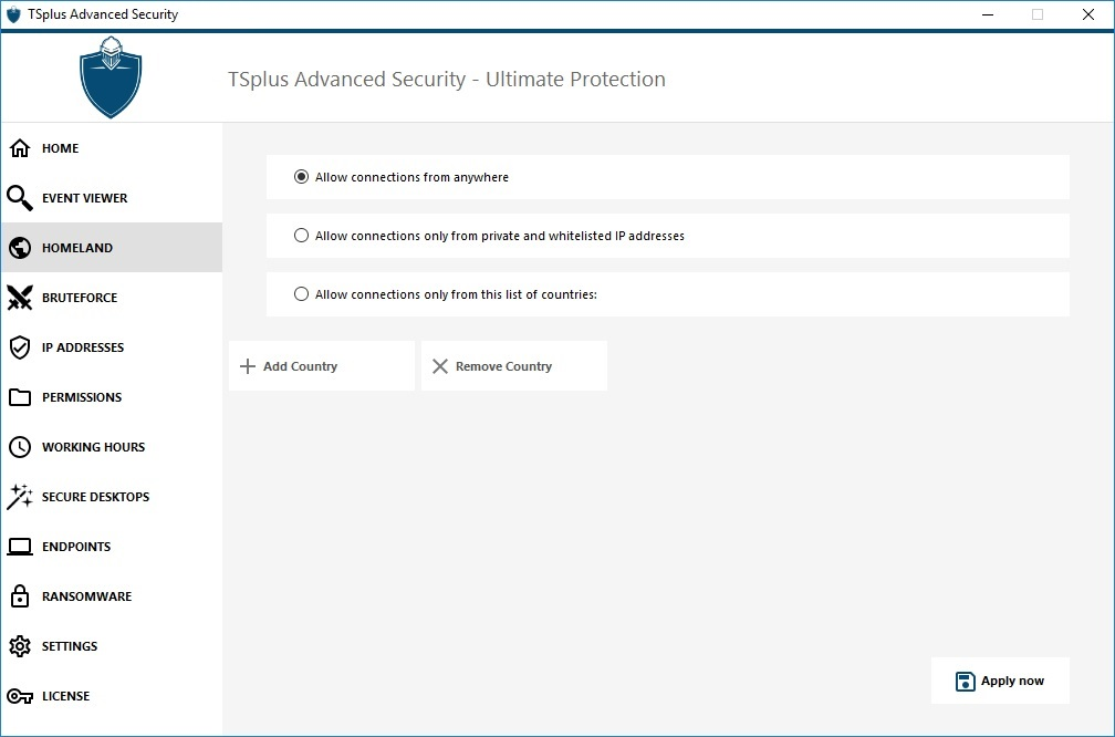 TSplus advanced security homeland prorection