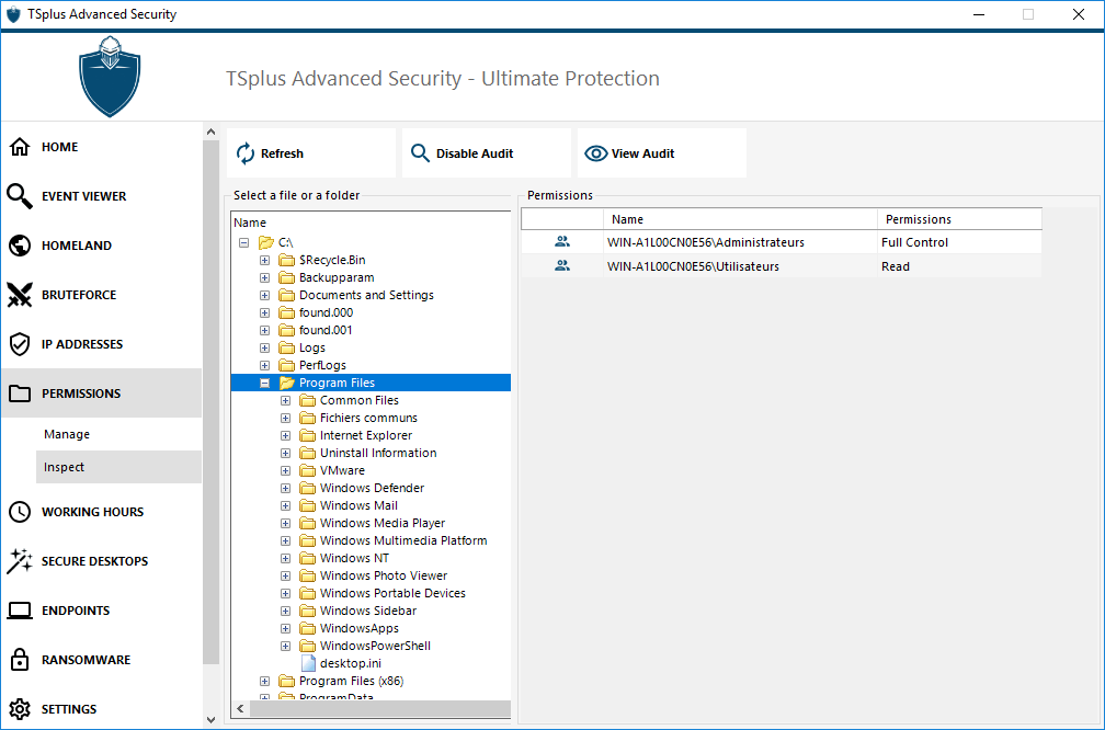 permissions-inspect TSplus Advanced Security