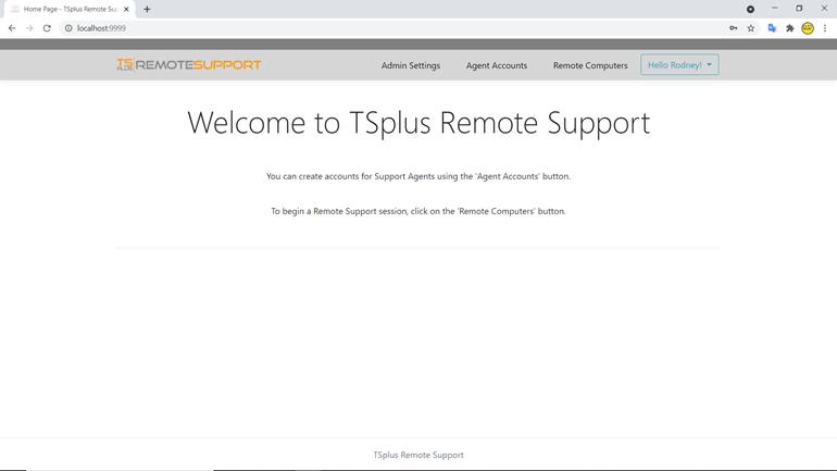 Remote Support web console administrator